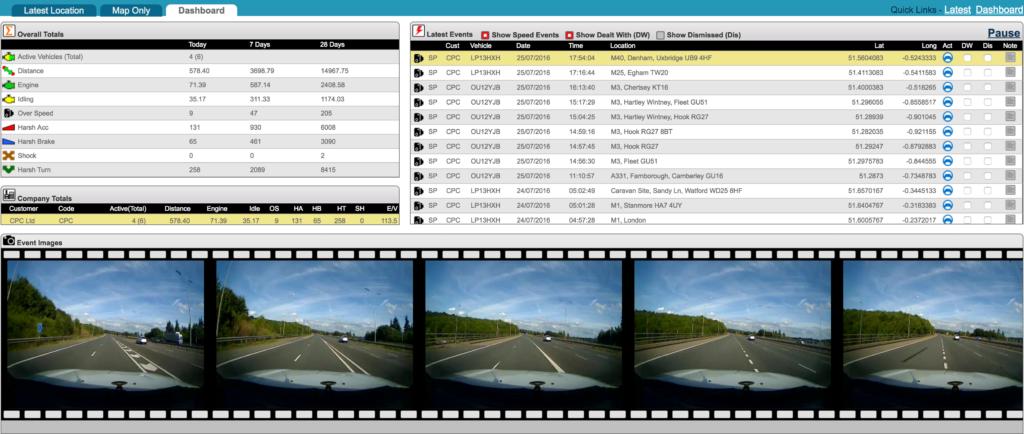 Fleet Dash Cams - Dashboard View