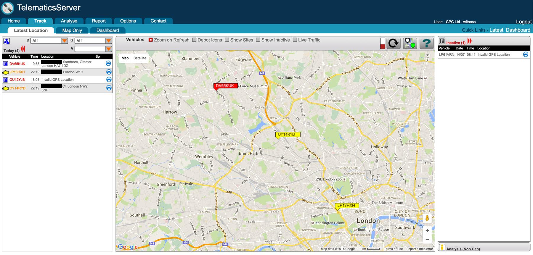 Fleet Dash Cams - Tracking Map Screen